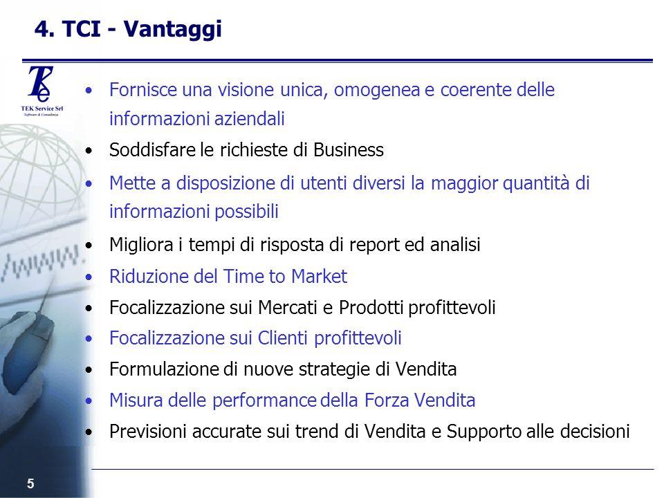 5 4. TCI - Vantaggi Fornisce una visione unica, omogenea e coerente delle informazioni aziendali Soddisfare le richieste di Business Mette a disposizi