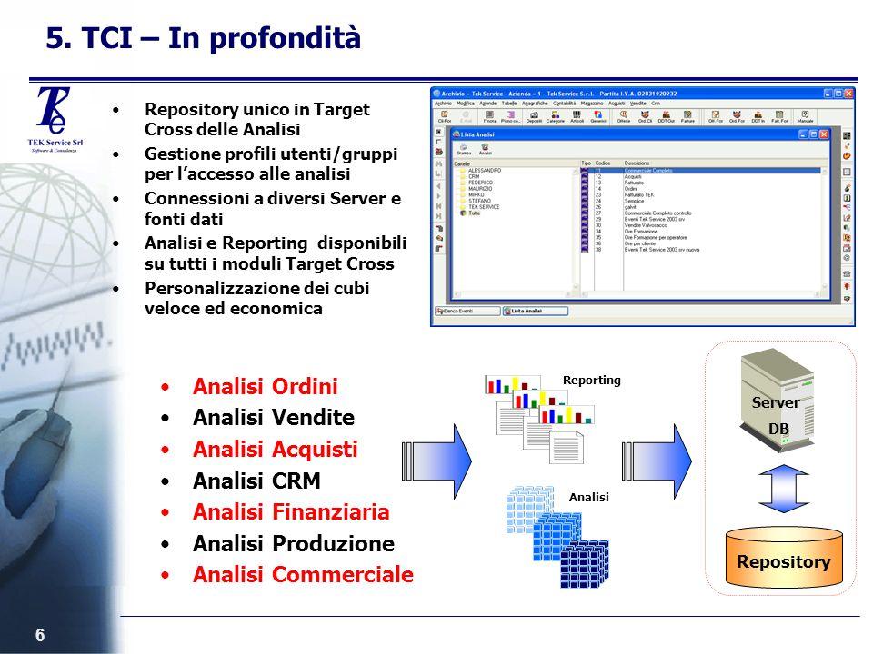 6 5. TCI – In profondità Repository unico in Target Cross delle Analisi Gestione profili utenti/gruppi per laccesso alle analisi Connessioni a diversi