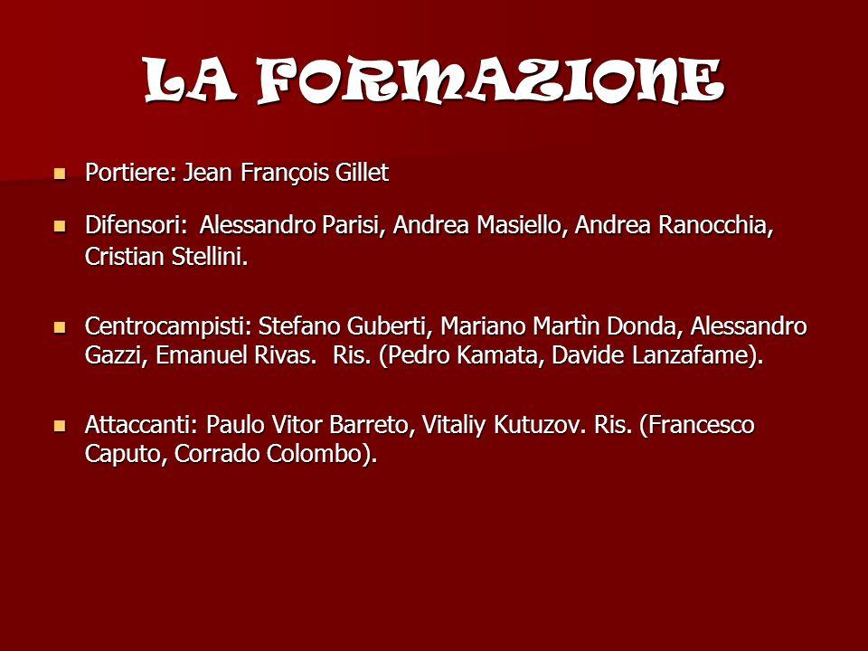 LA FORMAZIONE Portiere: Jean François Gillet Difensori: Alessandro Parisi, Andrea Masiello, Andrea Ranocchia, Cristian Stellini.
