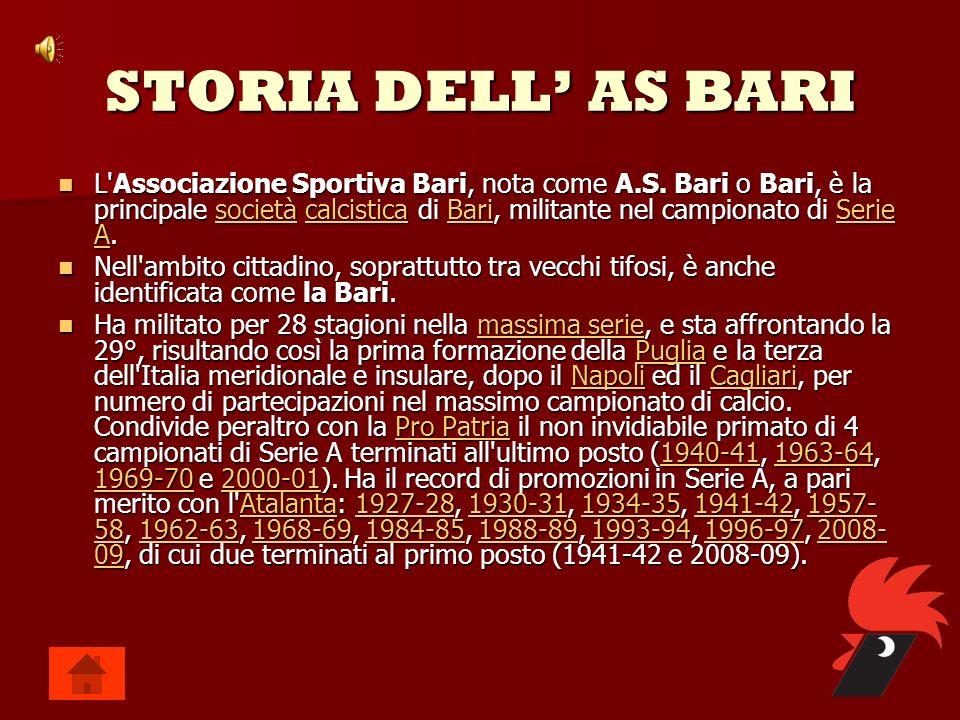 STORIA DELL AS BARI L'Associazione Sportiva Bari, nota come A.S. Bari o Bari, è la principale s s s s s oooo cccc iiii eeee tttt àààà c c c c c aaaa l
