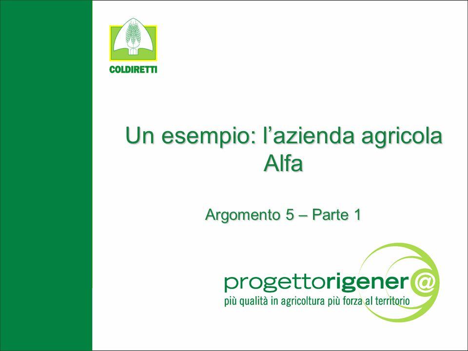 Un esempio: lazienda agricola Alfa Argomento 5 – Parte 1