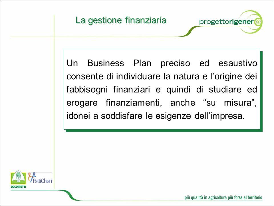 Un Business Plan preciso ed esaustivo consente di individuare la natura e lorigine dei fabbisogni finanziari e quindi di studiare ed erogare finanziamenti, anche su misura, idonei a soddisfare le esigenze dellimpresa.