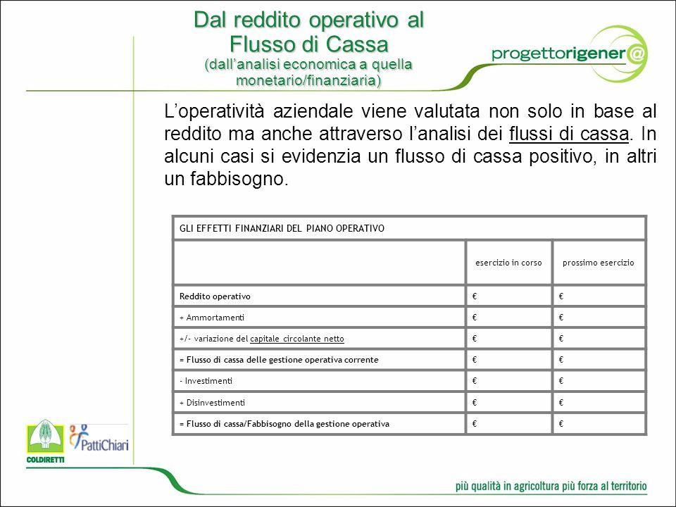 Dal reddito operativo al Flusso di Cassa (dallanalisi economica a quella monetario/finanziaria) Loperatività aziendale viene valutata non solo in base al reddito ma anche attraverso lanalisi dei flussi di cassa.
