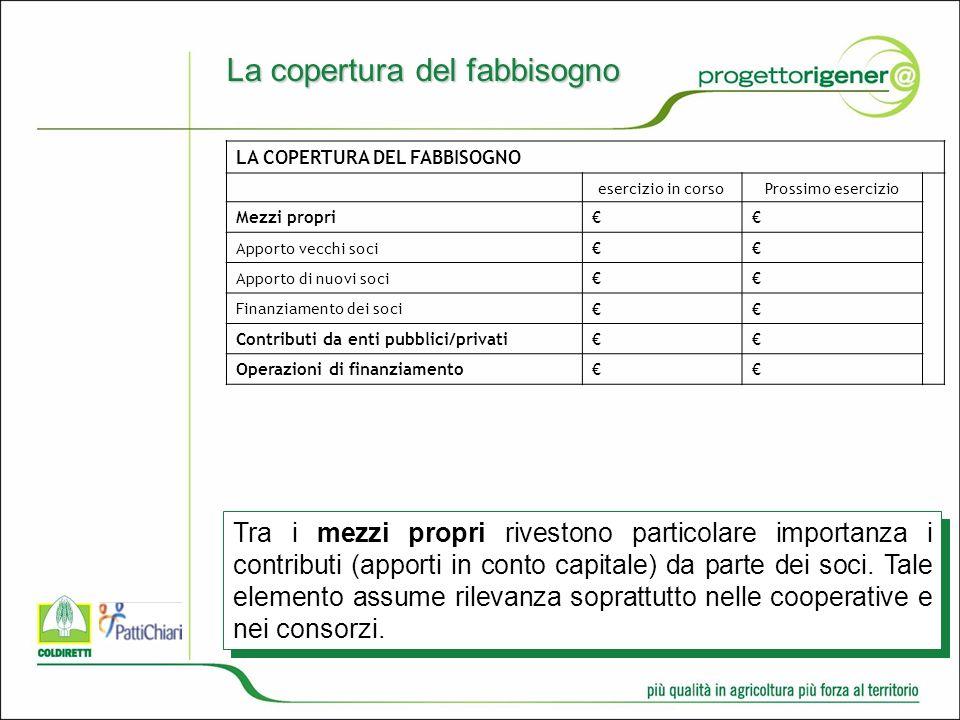 La copertura del fabbisogno Tra i mezzi propri rivestono particolare importanza i contributi (apporti in conto capitale) da parte dei soci.