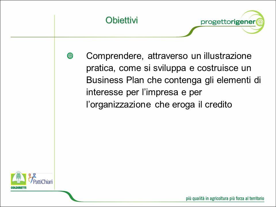 Obiettivi Comprendere, attraverso un illustrazione pratica, come si sviluppa e costruisce un Business Plan che contenga gli elementi di interesse per limpresa e per lorganizzazione che eroga il credito