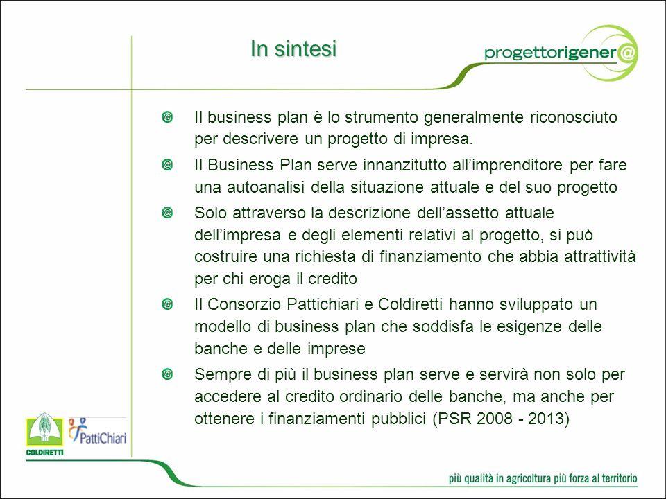 In sintesi Il business plan è lo strumento generalmente riconosciuto per descrivere un progetto di impresa.