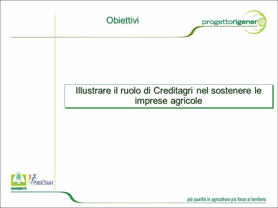 Obiettivi Illustrare il ruolo di Creditagri nel sostenere le imprese agricole