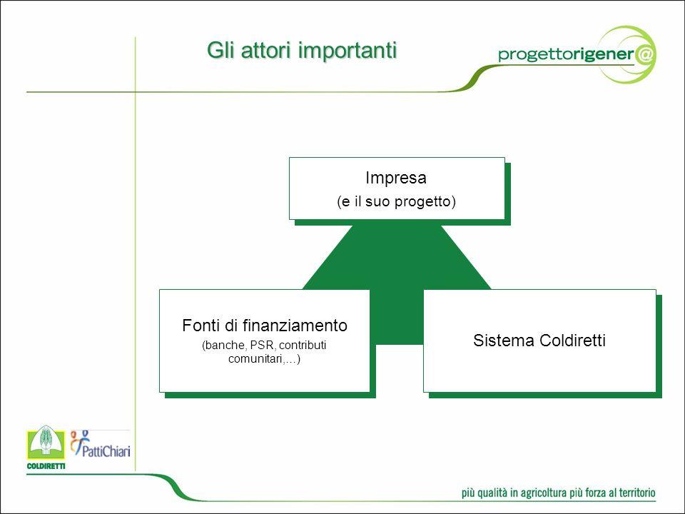 Gli attori importanti Impresa (e il suo progetto) Impresa (e il suo progetto) Fonti di finanziamento (banche, PSR, contributi comunitari,…) Fonti di finanziamento (banche, PSR, contributi comunitari,…) Sistema Coldiretti