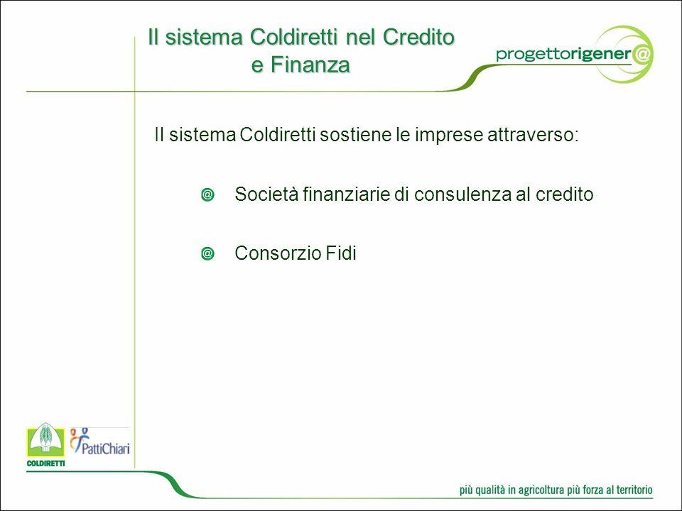 Il sistema Coldiretti nel Credito e Finanza Il sistema Coldiretti sostiene le imprese attraverso: Società finanziarie di consulenza al credito Consorzio Fidi