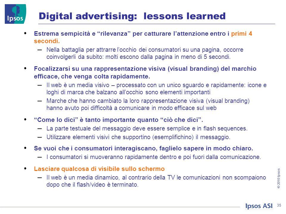© 2010 Ipsos 35 Digital advertising: lessons learned Estrema sempicità e rilevanza per catturare lattenzione entro i primi 4 secondi.