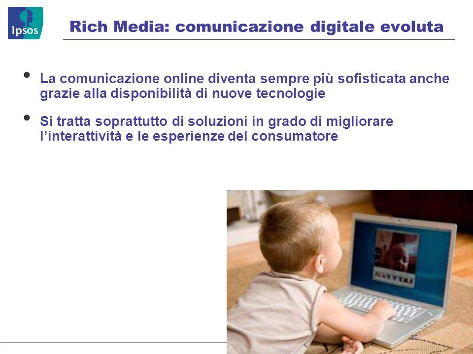 Rich Media: comunicazione digitale evoluta La comunicazione online diventa sempre più sofisticata anche grazie alla disponibilità di nuove tecnologie Si tratta soprattutto di soluzioni in grado di migliorare linterattività e le esperienze del consumatore 36