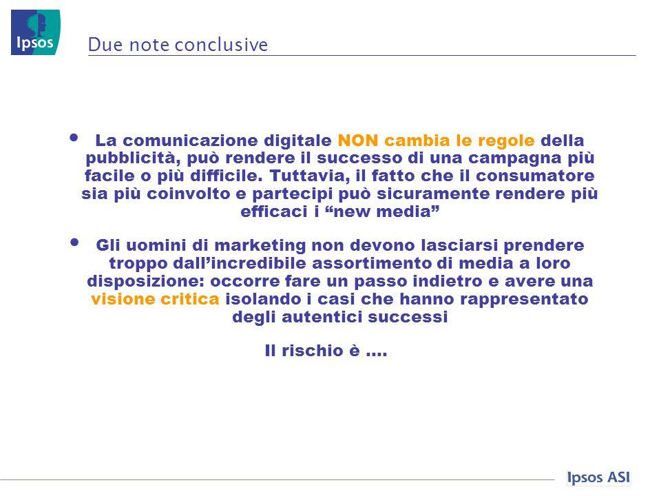 Due note conclusive La comunicazione digitale NON cambia le regole della pubblicità, può rendere il successo di una campagna più facile o più difficile.