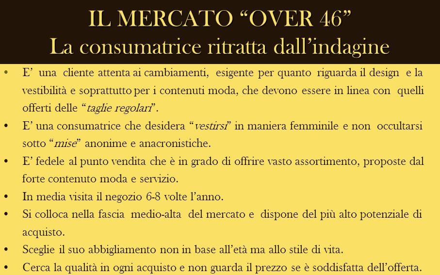 IL MERCATO OVER 46 La consumatrice ritratta dallindagine E una cliente attenta ai cambiamenti, esigente per quanto riguarda il design e la vestibilità