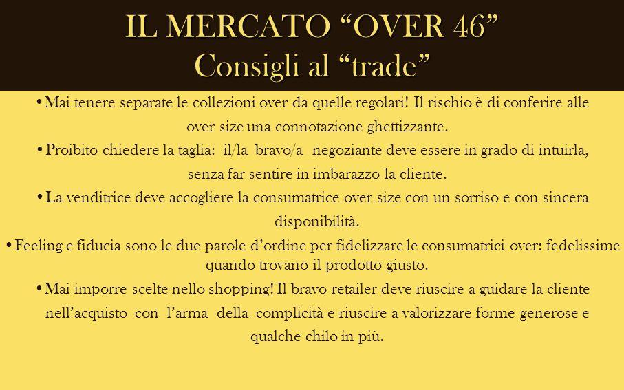 IL MERCATO OVER 46 Consigli al trade Mai tenere separate le collezioni over da quelle regolari! Il rischio è di conferire alle over size una connotazi