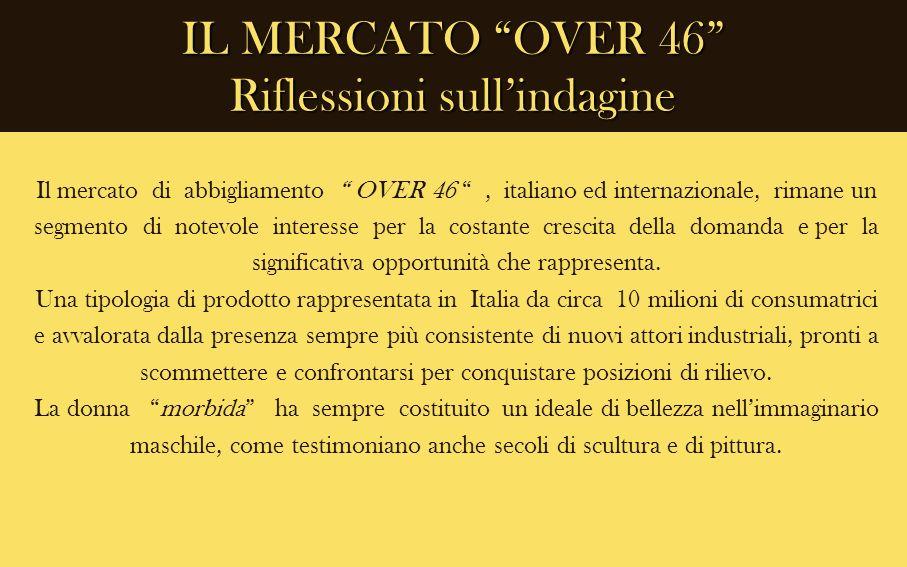IL MERCATO OVER 46 Riflessioni sullindagine Il mercato di abbigliamento OVER 46, italiano ed internazionale, rimane un segmento di notevole interesse