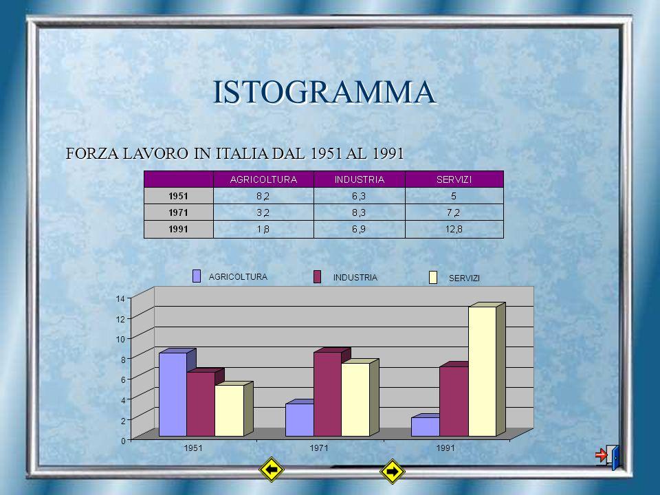 ISTOGRAMMA FORZA LAVORO IN ITALIA DAL 1951 AL 1991 0 2 4 6 8 10 12 14 195119711991 AGRICOLTURA INDUSTRIA SERVIZI
