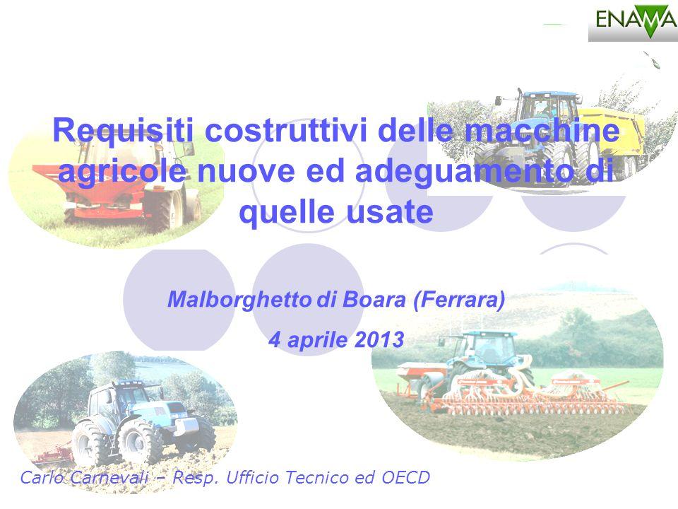 Carlo Carnevali – Resp. Ufficio Tecnico ed OECD Requisiti costruttivi delle macchine agricole nuove ed adeguamento di quelle usate Malborghetto di Boa