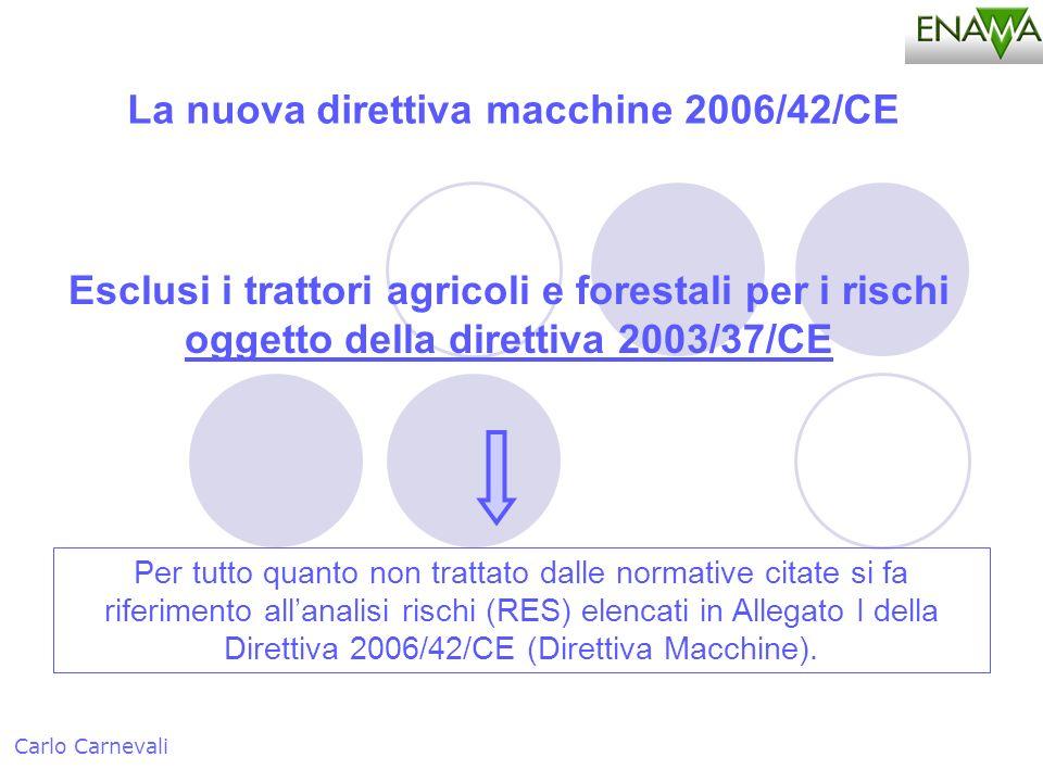 Carlo Carnevali La nuova direttiva macchine 2006/42/CE Esclusi i trattori agricoli e forestali per i rischi oggetto della direttiva 2003/37/CE Per tut