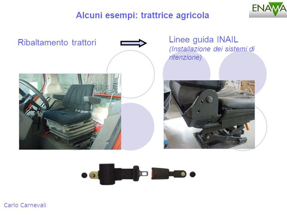 Alcuni esempi: trattrice agricola Carlo Carnevali Ribaltamento trattori Linee guida INAIL (Installazione dei sistemi di ritenzione)