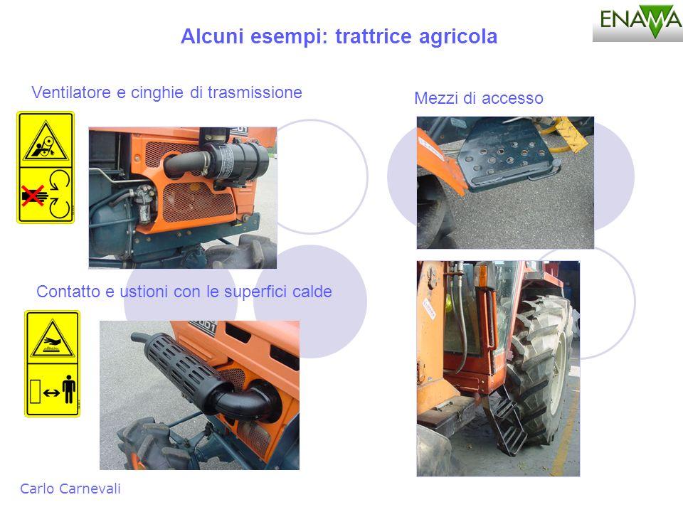 Alcuni esempi: trattrice agricola Carlo Carnevali Ventilatore e cinghie di trasmissione Mezzi di accesso Contatto e ustioni con le superfici calde