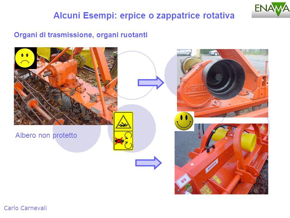 Alcuni Esempi: erpice o zappatrice rotativa Carlo Carnevali Organi di trasmissione, organi ruotanti Albero non protetto