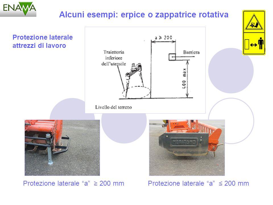 Alcuni esempi: erpice o zappatrice rotativa Protezione laterale a 200 mm Protezione laterale attrezzi di lavoro