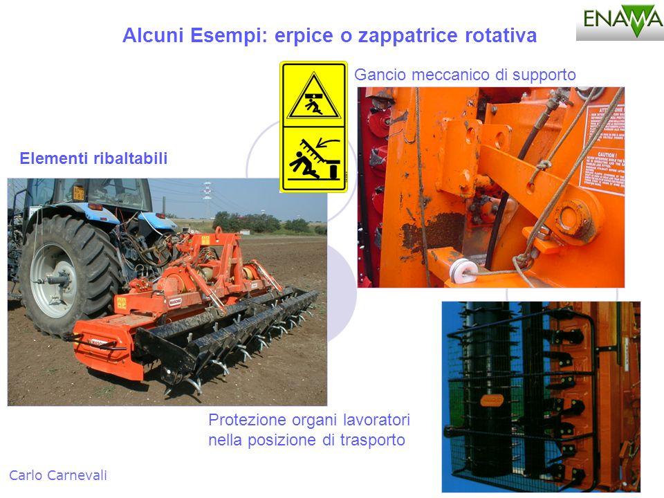 Alcuni Esempi: erpice o zappatrice rotativa Carlo Carnevali Elementi ribaltabili Protezione organi lavoratori nella posizione di trasporto Gancio mecc