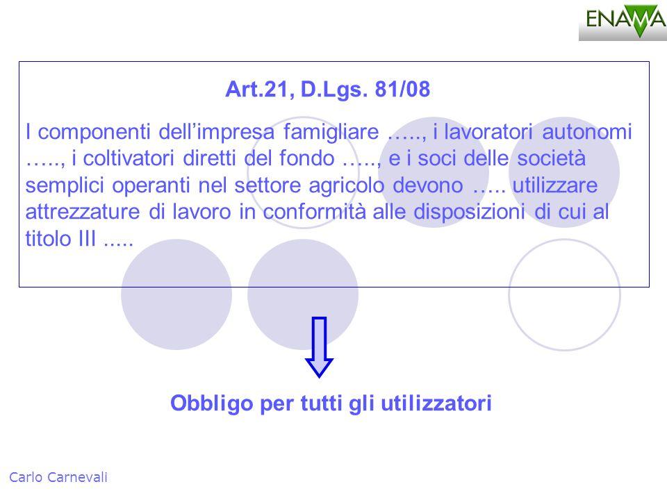 Obbligo per tutti gli utilizzatori Carlo Carnevali Art.21, D.Lgs. 81/08 I componenti dellimpresa famigliare ….., i lavoratori autonomi ….., i coltivat