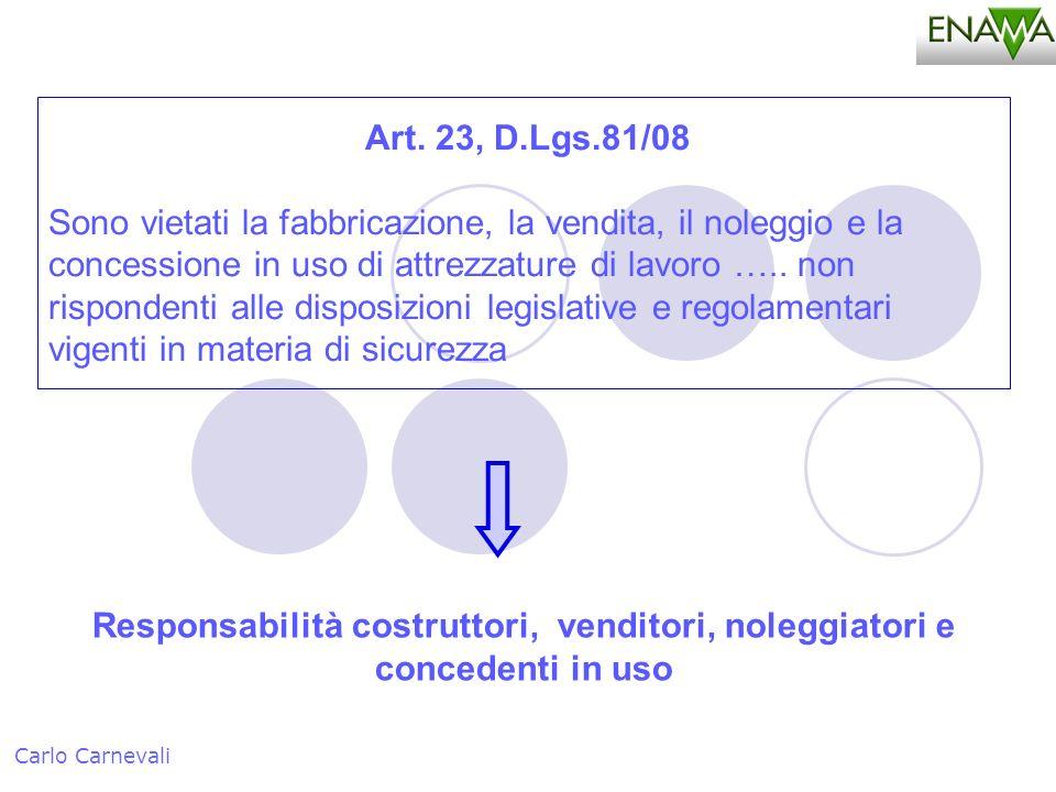 Art. 23, D.Lgs.81/08 Sono vietati la fabbricazione, la vendita, il noleggio e la concessione in uso di attrezzature di lavoro ….. non rispondenti alle