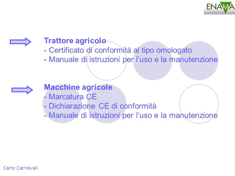 Trattore agricolo - Certificato di conformità al tipo omologato - Manuale di istruzioni per luso e la manutenzione Carlo Carnevali Macchine agricole -