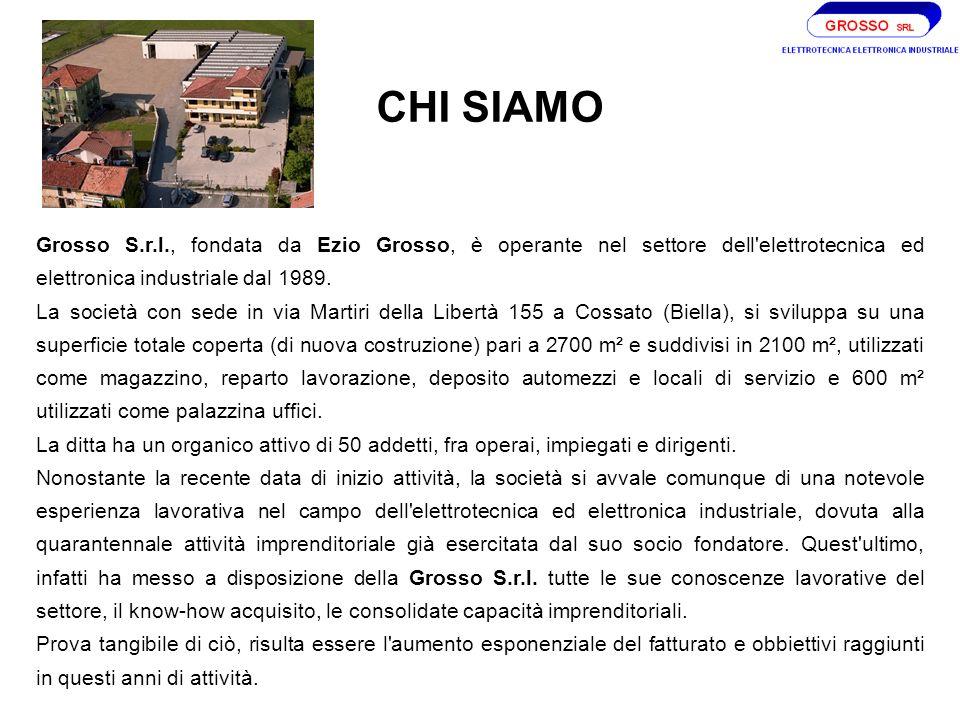 CHI SIAMO Grosso S.r.l., fondata da Ezio Grosso, è operante nel settore dell elettrotecnica ed elettronica industriale dal 1989.