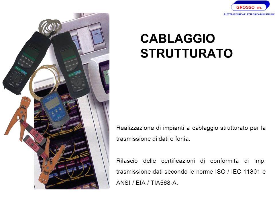 CABLAGGIO STRUTTURATO Realizzazione di impianti a cablaggio strutturato per la trasmissione di dati e fonia.