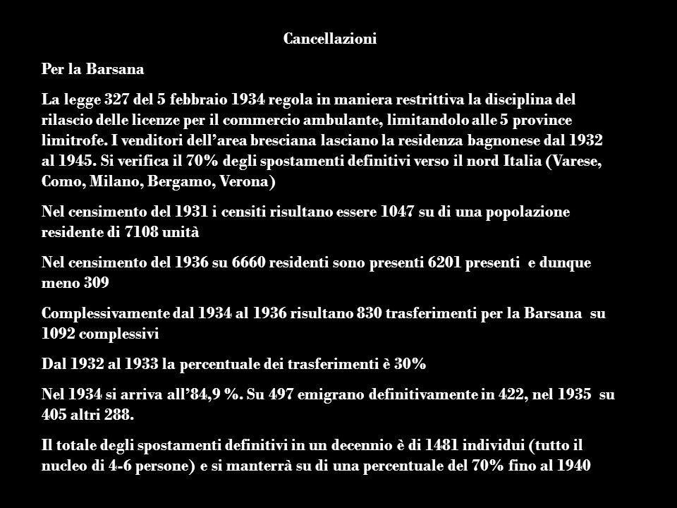 Cancellazioni Per la Barsana La legge 327 del 5 febbraio 1934 regola in maniera restrittiva la disciplina del rilascio delle licenze per il commercio