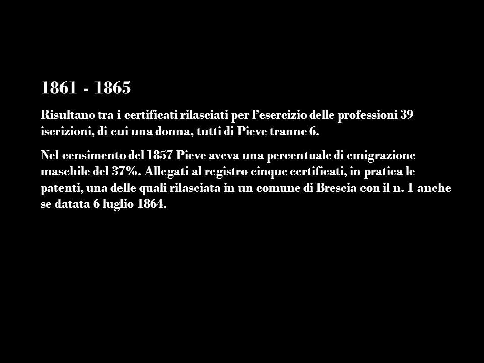 1861 - 1865 Risultano tra i certificati rilasciati per lesercizio delle professioni 39 iscrizioni, di cui una donna, tutti di Pieve tranne 6. Nel cens