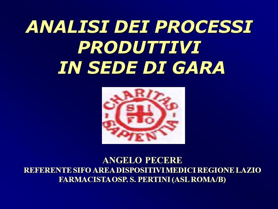1 ANGELO PECERE REFERENTE SIFO AREA DISPOSITIVI MEDICI REGIONE LAZIO FARMACISTA OSP. S. PERTINI (ASL ROMA/B) ANALISI DEI PROCESSI PRODUTTIVI IN SEDE D