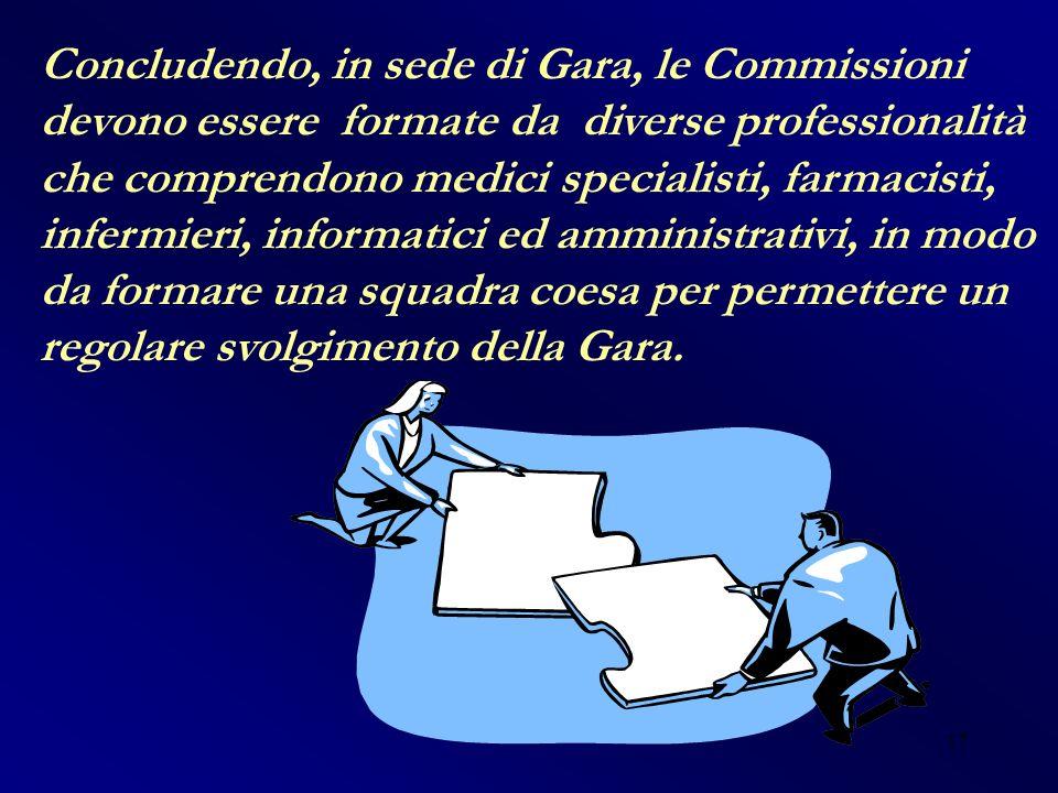 17 Concludendo, in sede di Gara, le Commissioni devono essere formate da diverse professionalità che comprendono medici specialisti, farmacisti, infer