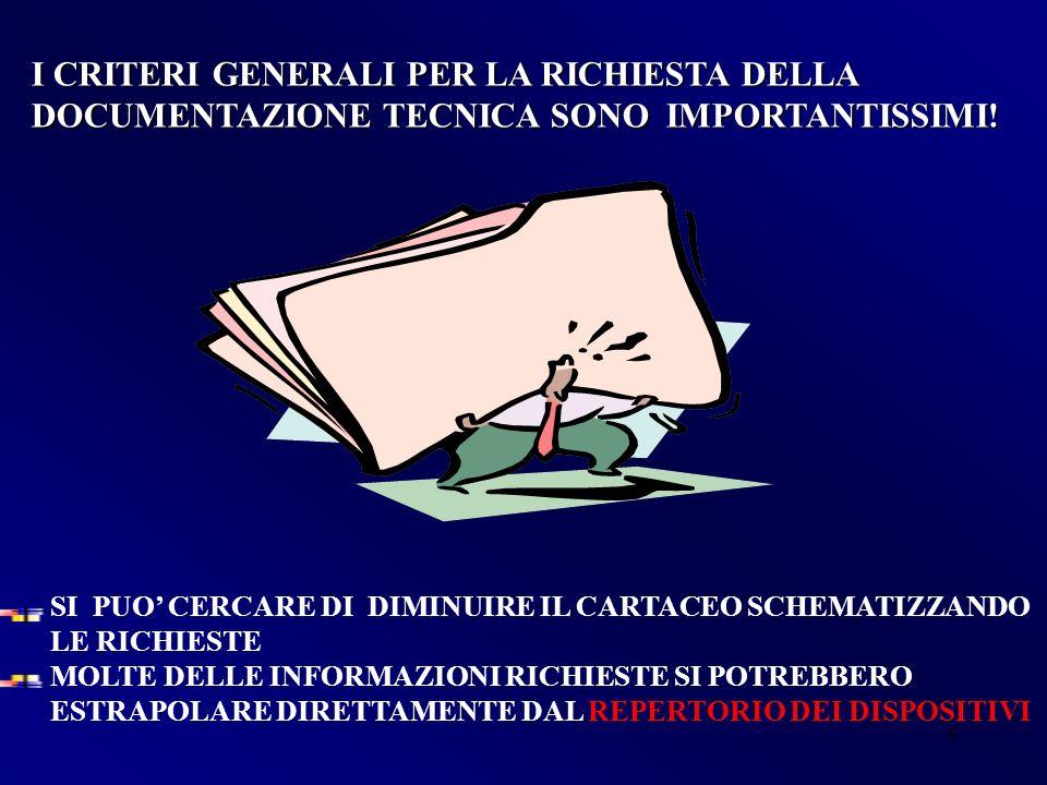 6 I CRITERI GENERALI PER LA RICHIESTA DELLA DOCUMENTAZIONE TECNICA SONO IMPORTANTISSIMI.