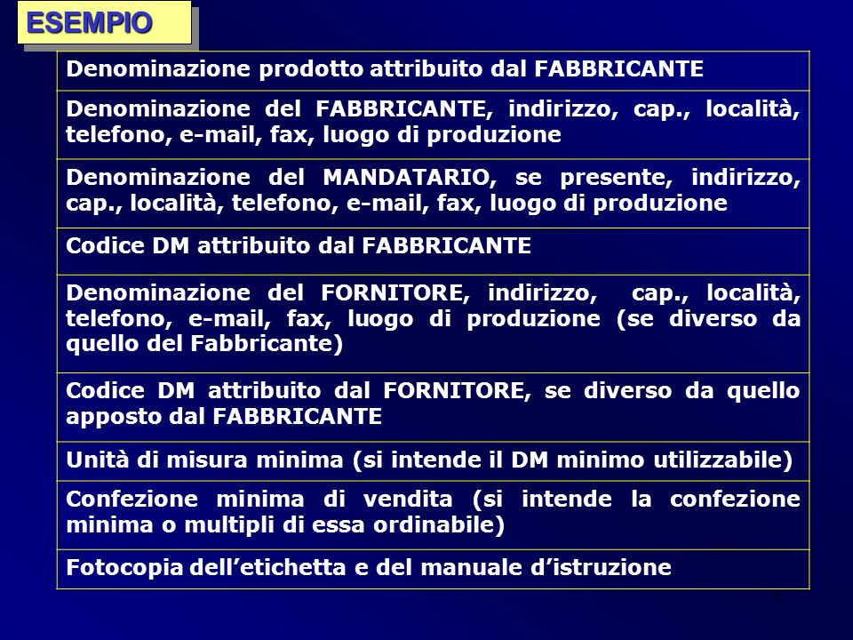 7ESEMPIOESEMPIO Denominazione prodotto attribuito dal FABBRICANTE Denominazione del FABBRICANTE, indirizzo, cap., località, telefono, e-mail, fax, luo