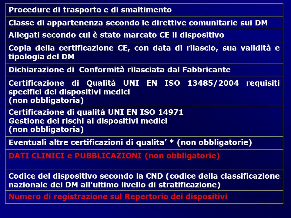 9 Procedure di trasporto e di smaltimento Classe di appartenenza secondo le direttive comunitarie sui DM Allegati secondo cui è stato marcato CE il di