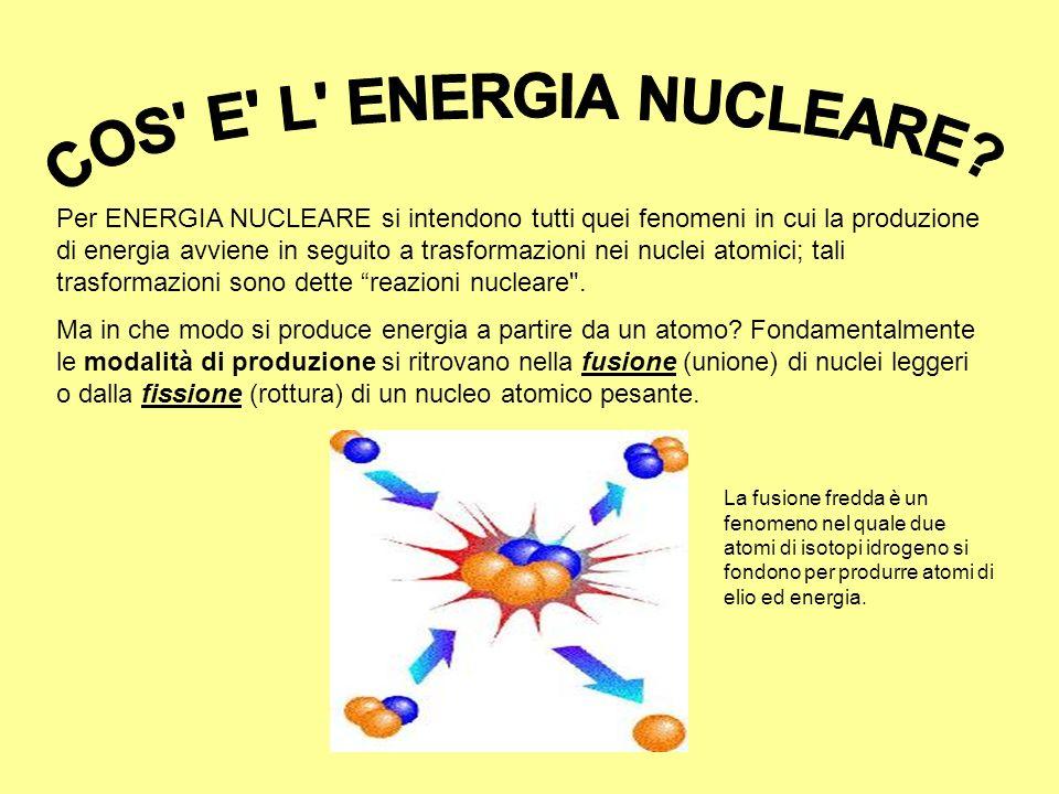 Per ENERGIA NUCLEARE si intendono tutti quei fenomeni in cui la produzione di energia avviene in seguito a trasformazioni nei nuclei atomici; tali tra