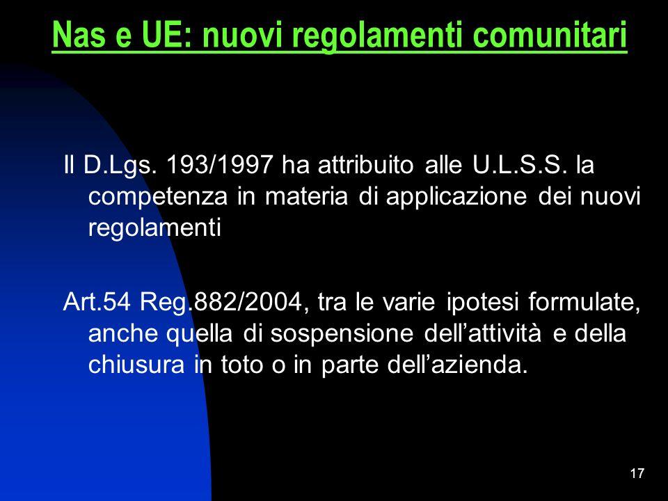 16 Art. 2 D.Lgs. 193/2007. Autorità competenti: Ministero Regioni Prov. Autonome (TN – BZ) A.U.S.L. NO Sindaco Nas e UE: nuovi regolamenti comunitari