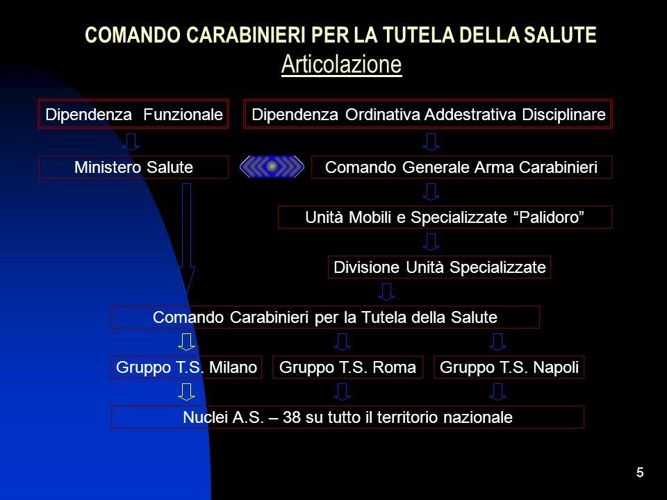4 I Nuclei Antisofisticazioni e Sanità dellArma dei Carabinieri provvedono alla tutela della salute pubblica mediante la lotta alle sofisticazioni e f
