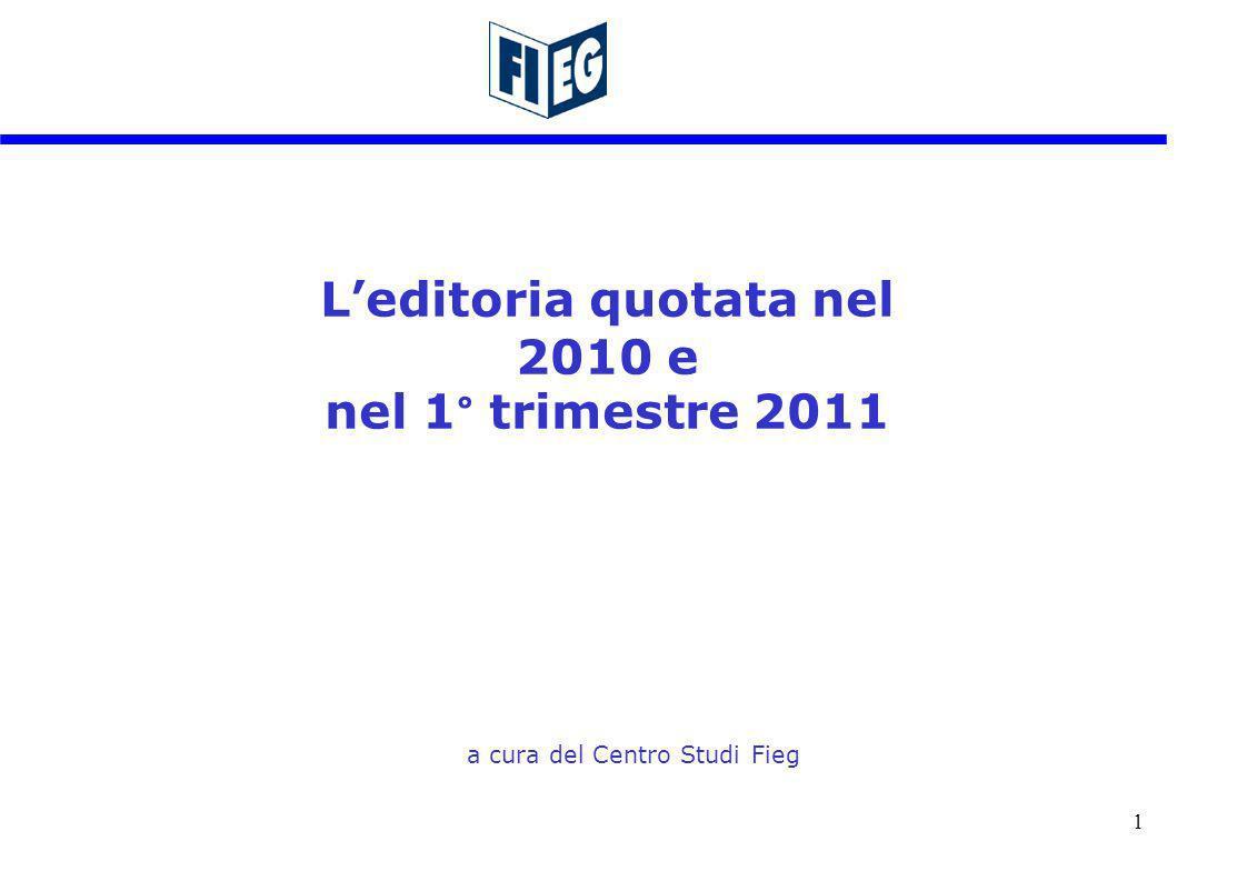 1 Leditoria quotata nel 2010 e nel 1° trimestre 2011 a cura del Centro Studi Fieg