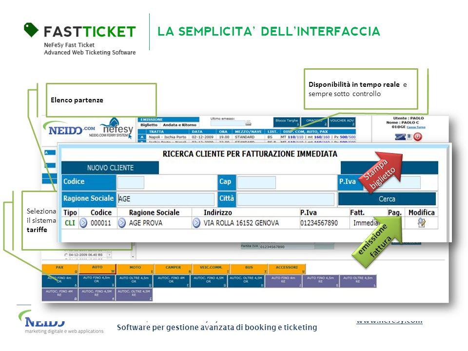 NEFESY | neido.com ferry system Software per gestione avanzata di booking e ticketing www.nefesy.com LA SEMPLICITA DELLINTERFACCIA Elenco partenze Dis