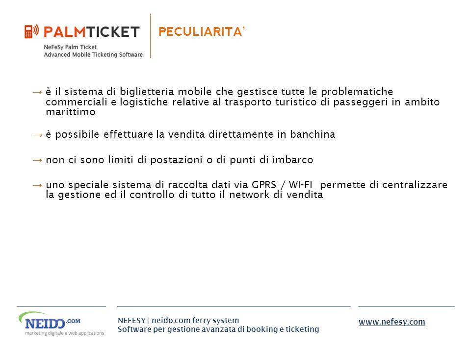 NEFESY | neido.com ferry system Software per gestione avanzata di booking e ticketing www.nefesy.com PECULIARITA è il sistema di biglietteria mobile c