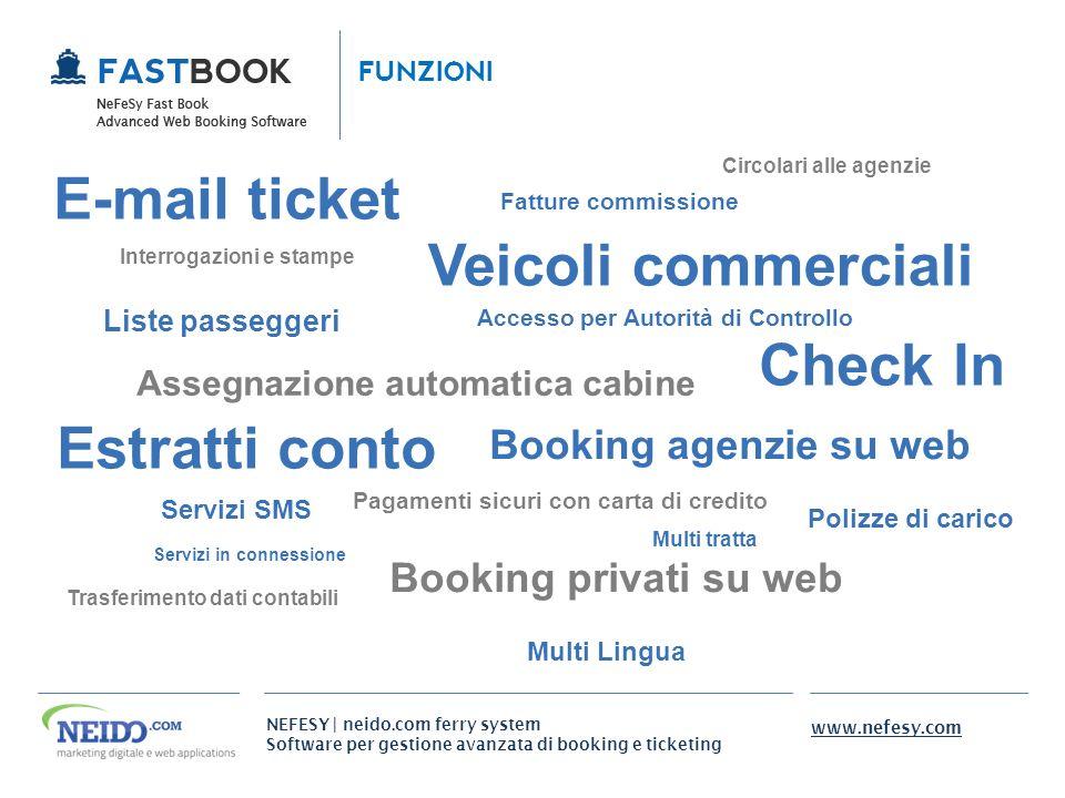 NEFESY | neido.com ferry system Software per gestione avanzata di booking e ticketing www.nefesy.com Check In Assegnazione automatica cabine Veicoli c