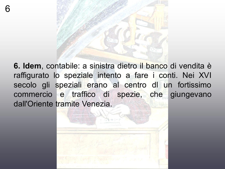 6 6. ldem, contabile: a sinistra dietro il banco di vendita è raffigurato lo speziale intento a fare i conti. Nei XVI secolo gli speziali erano al cen