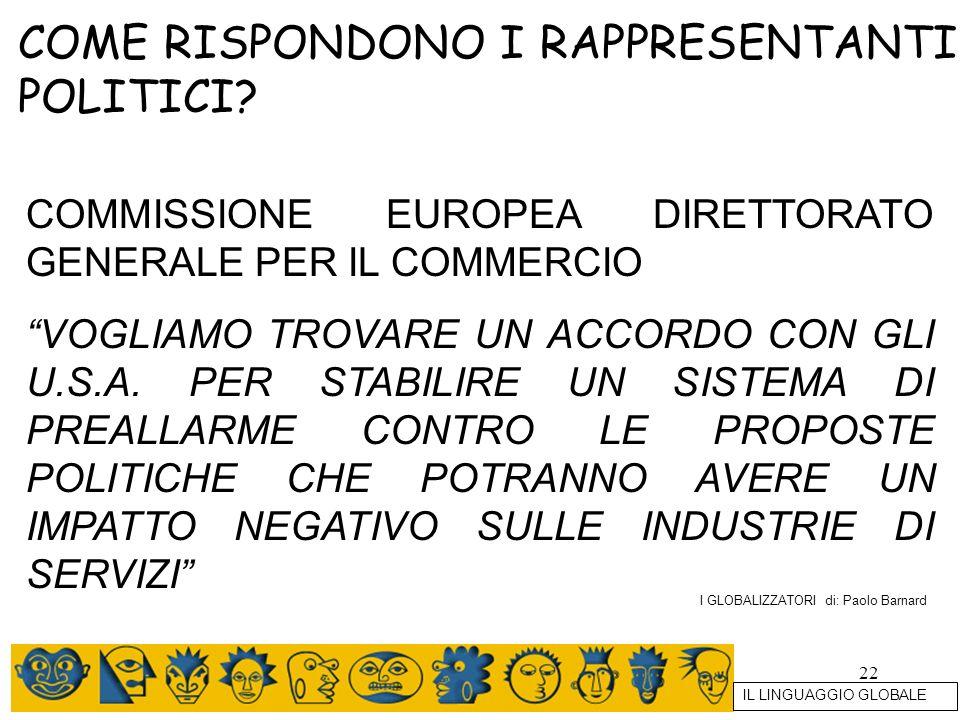 22 COME RISPONDONO I RAPPRESENTANTI POLITICI? COMMISSIONE EUROPEA DIRETTORATO GENERALE PER IL COMMERCIO VOGLIAMO TROVARE UN ACCORDO CON GLI U.S.A. PER