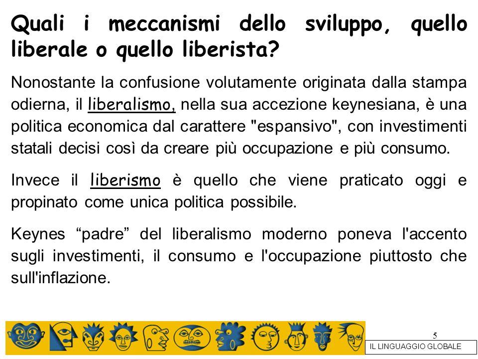 5 Quali i meccanismi dello sviluppo, quello liberale o quello liberista? Nonostante la confusione volutamente originata dalla stampa odierna, il liber
