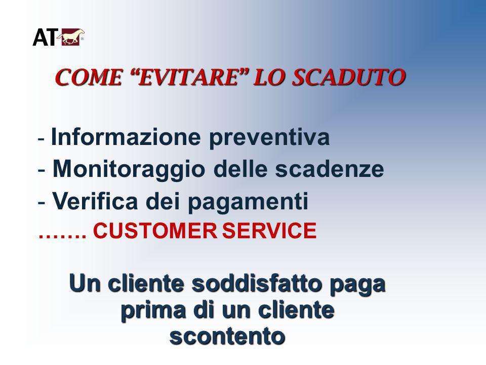 COME EVITARE LO SCADUTO - Informazione preventiva - Monitoraggio delle scadenze - Verifica dei pagamenti ……. CUSTOMER SERVICE Un cliente soddisfatto p